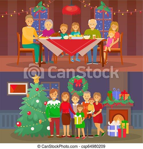 Gente de la familia de Navidad cenando por vector de mesa - csp64980209