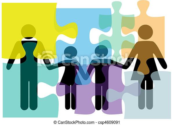 Gente de familia, servicios de salud, rompecabezas de solución de problemas - csp4609091