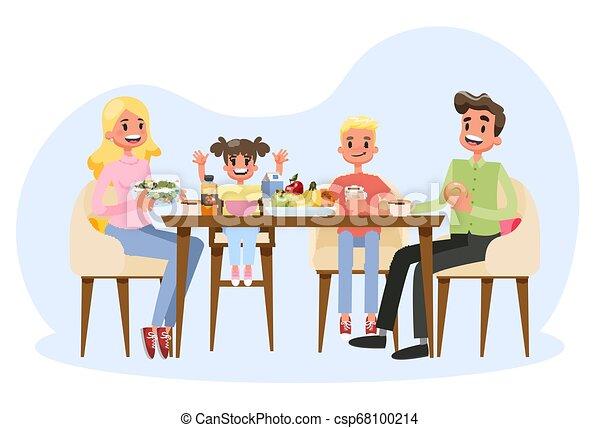 Familia desayunando en la mesa de la cocina. Padres felices - csp68100214