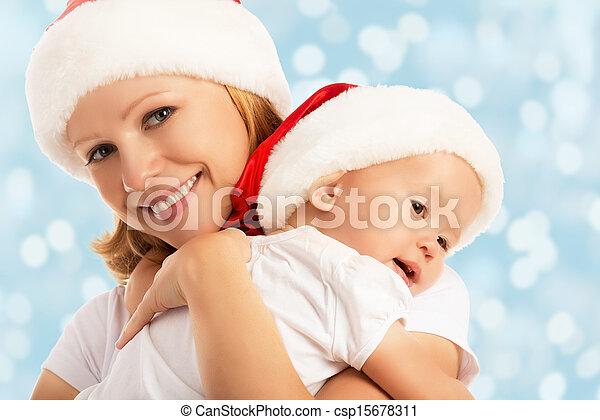 familia , sombreros, madre, bebé, navidad, feliz - csp15678311