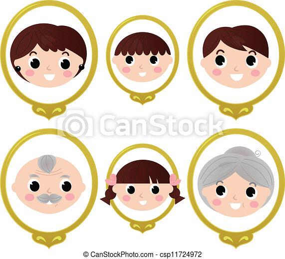 Fotos antiguas de miembros de la familia aisladas en blanco - csp11724972