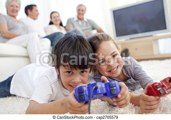 Familie Boden Sofa Kinder Videospiele Spielende Familie