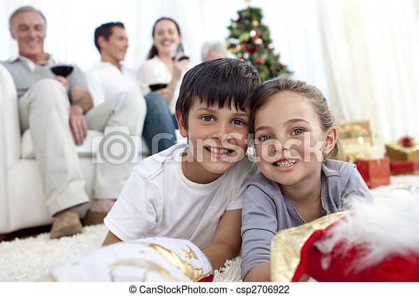 familie, boden, weihnachten, ihr, kinder, liegen - csp2706922