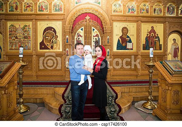 Familie Orthodox Christening Feiern Kirche Töchterchen Taufe