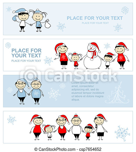 Fröhliche Familie zusammen, Weihnachtsfeier Banner für Ihr Design - csp7654652