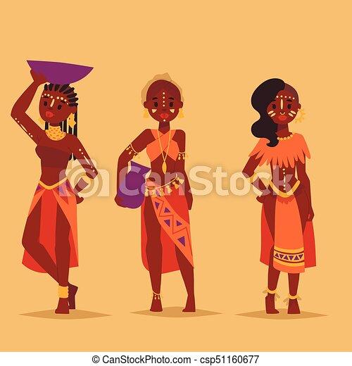 familien, illustration., leute, traditionelle , person, maasai, vektor, afrikanisch, kleidung, glücklich - csp51160677