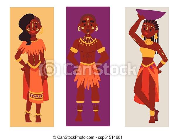 Maasai african Leute Karten in traditionellen Kleidung glückliche Familien Vektor Illustration. - csp51514681