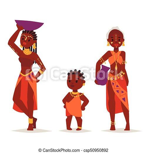 familien, illustration., leute, traditionelle , person, maasai, vektor, afrikanisch, kleidung, glücklich - csp50950892