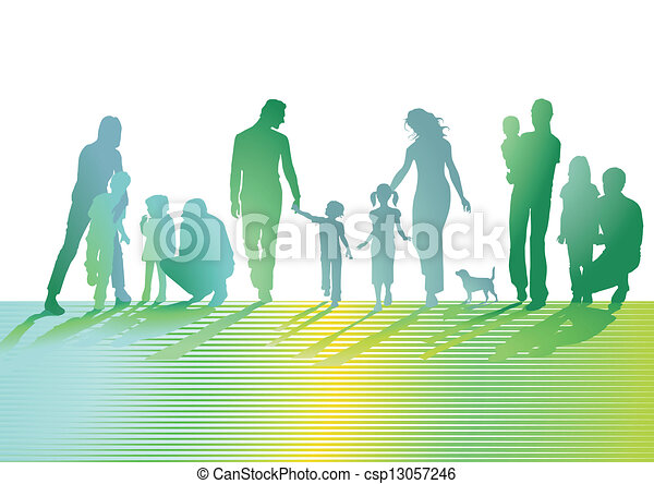 Families on the lawn - csp13057246