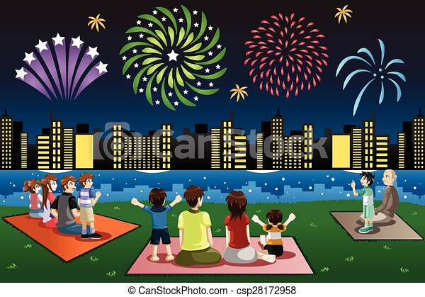 a vector illustration of families watching fireworks in a