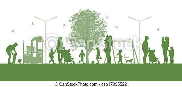 families with children in the city parc - csp17035522