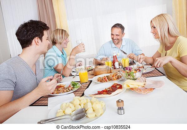 familj, avnjut, måltiden, tillsammans - csp10835524