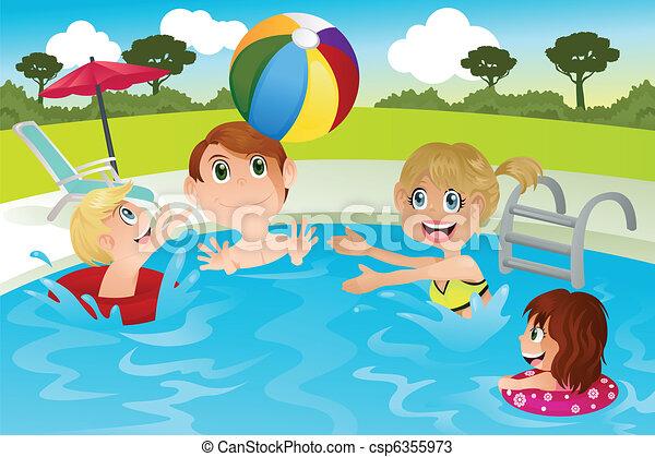 familj, slå samman, simning - csp6355973