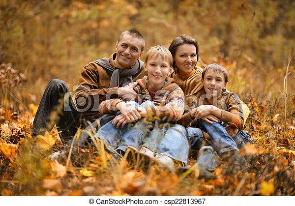 famille, automne, quatre - csp22813967