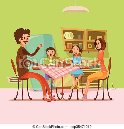 Famille Avoir Illustration Repas Famille Frigidaire