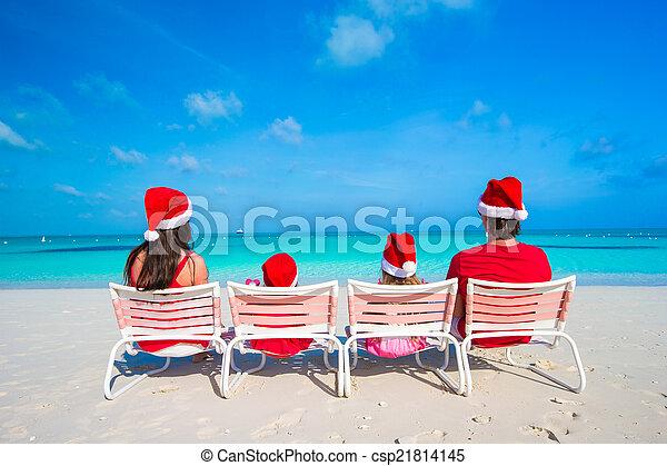 famille, chapeaux, quatre, santa, plage, rouges, heureux - csp21814145
