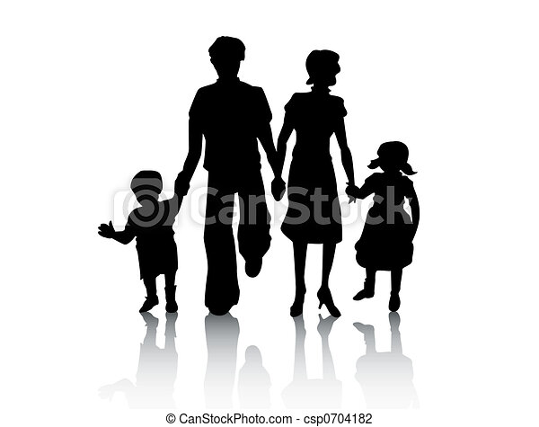 Clipart Famille sentier, coupure, silhouette, famille.