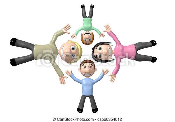 famille, concept, collaboration, 3d, heureux - csp60354812