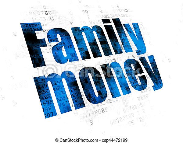 famille, devise argent, fond, numérique, concept: - csp44472199