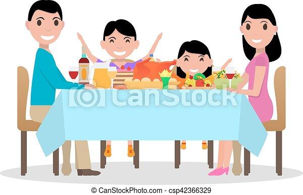 Famille Fete Diner Vecteur Table Dessin Anime Heureux Repas