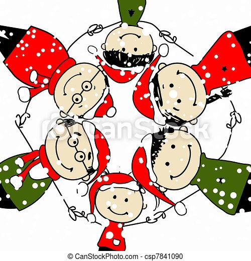 famille, illustration, conception, joyeux, christmas!, ton, heureux - csp7841090