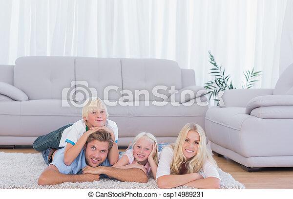 famille, mensonge, moquette - csp14989231