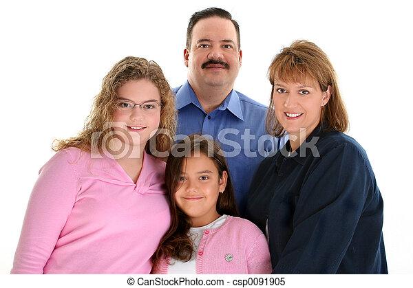 famille, père, américain, mère, portrait, filles - csp0091905