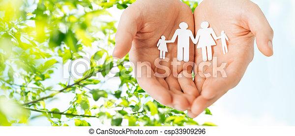 famille, papier, tenant mains, coupure, homme - csp33909296