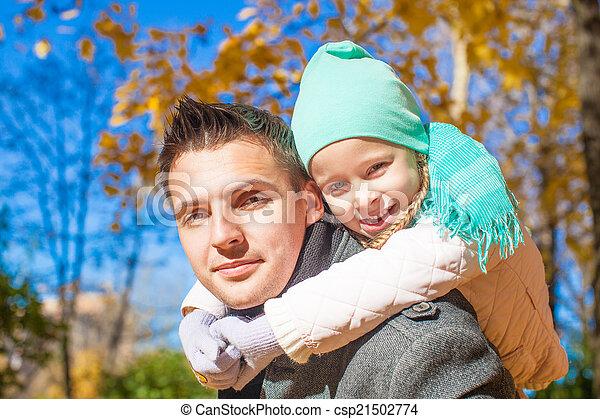 famille, parc, ensoleillé, deux, avoir, automne, amusement, jour - csp21502774