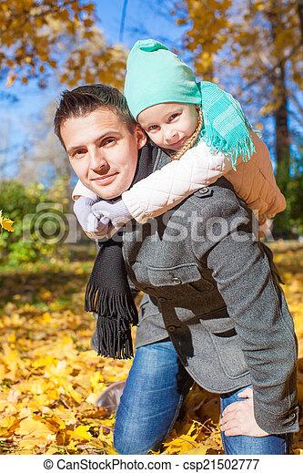 famille, parc, ensoleillé, deux, avoir, automne, amusement, jour - csp21502777