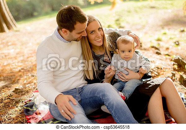famille, séance, parc, jeune, automne, terrestre - csp53645518