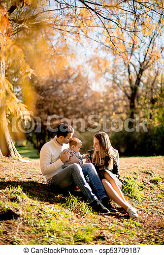 famille, séance, parc, jeune, automne, terrestre - csp53709187