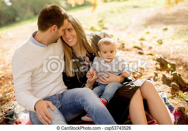famille, séance, parc, jeune, automne, terrestre - csp53743526