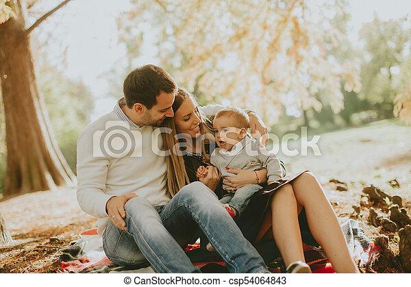 famille, séance, parc, jeune, automne, terrestre - csp54064843