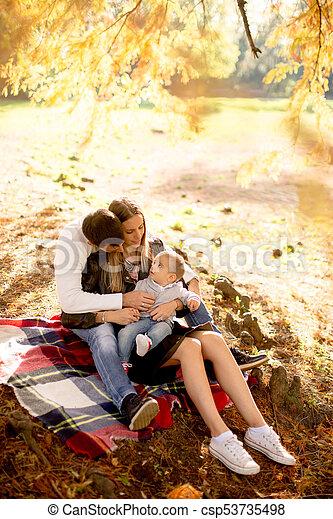 famille, séance, parc, jeune, automne, terrestre - csp53735498