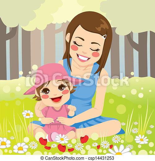 famille seule, mère - csp14431253