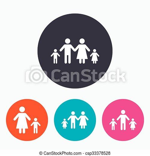famille, signe., deux, parents, enfants, kids. - csp33378528