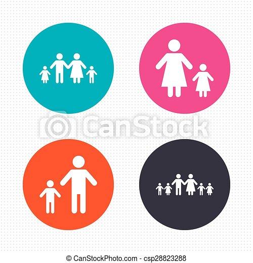 famille, signe., deux, parents, enfants, kids. - csp28823288