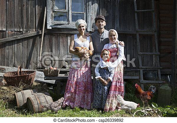 famille, vendange, quelques-uns, appelé, portrait, poules - csp26339892