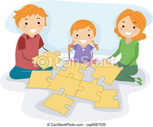 Family Activity Illustration Of A Solving Jigsaw