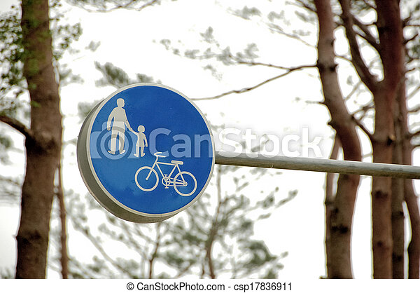 family and bicycle traffic sign in blue - csp17836911