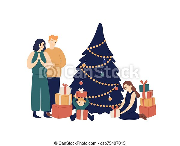 Family And Christmas Tree Flat Vector Illustration Smiling Parents And Children Opening Gifts Under New Year Tree Cartoon Cartoon tree free vector we have about (24,016 files) free vector in ai, eps, cdr, svg vector illustration graphic art design format. can stock photo