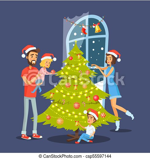 Family And Christmas Tree Vector Illustration Family And Christmas Tree People Decorating Evergreen Pine With Balls And Canstock Check out inspiring examples of cartoon_tree artwork on deviantart, and get inspired by our community of talented artists. https www canstockphoto com family and christmas tree vector 55597144 html