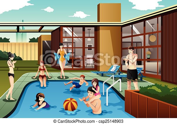 Family and friends spending time in the backyard swimming pool - csp25148903