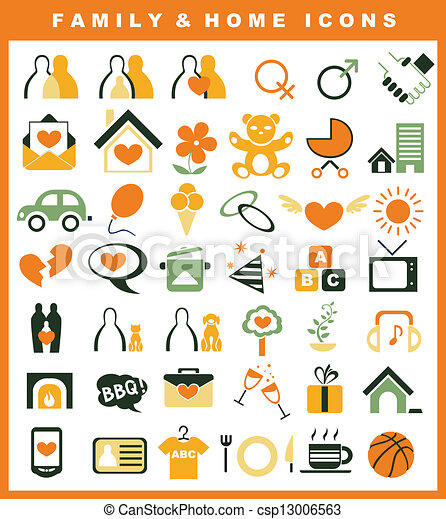 family and home icons set - csp13006563