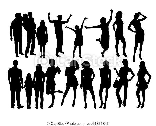 Line Art Vector Design : Family and models activity silhouettes art vector design eps