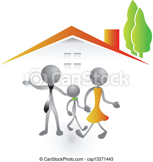 Family and new house logo vector  - csp13371443