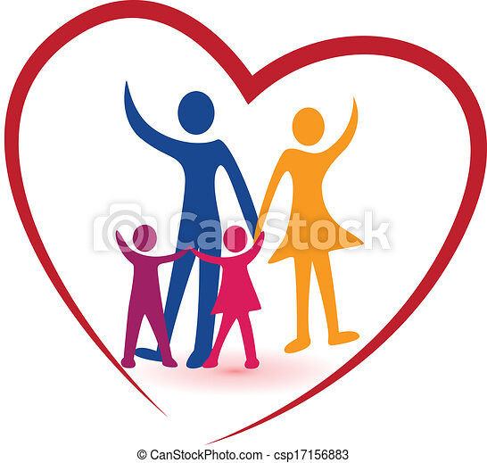 Family and red heart logo - csp17156883