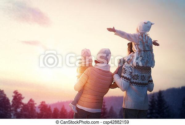 family and winter season - csp42882159