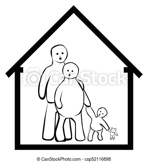 Family At Home A Cartoon Family And Home With House Outline And Isolated On A White Background Canstock
